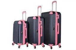 Brio Luggage Hardside Spinner Luggage Set #808 Navy - Navy/Pink