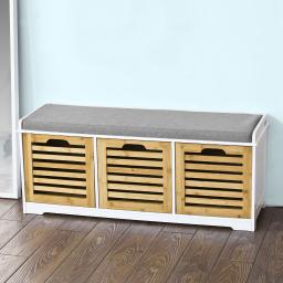 Haotian FSR23-WN Storage Bench with 3 Drawers & Padded Seat Cushion, Hallway Bench Shoe Cabinet Shoe Bench
