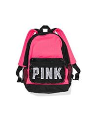 Victoria's Secret Pink Campus Sequins Pink/Black Backpack