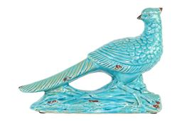 Urban Trends  Ceramic Wood Pecker Bird Figurine on Branch Base Distressed Gloss Finish Turquoise