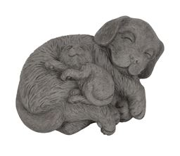 Urban Trends Cement Laying Beagle Dog Figurine with Kitten on Stomach in Concrete Finish - Gray