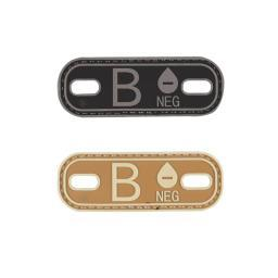 "5ive Star Gear B NEG, B- Blood Type Medical PVC Patch/Bootlace Tag, 1"" x 2.75"""