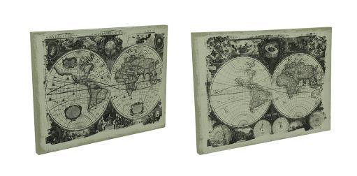 2 Piece Faux Antique Finish Vintage Old World Map Canvas Wall Print Set