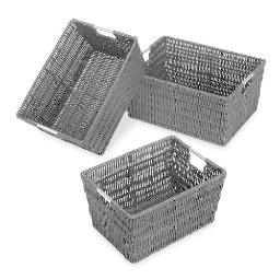 Whitmor 6500-1959-blk rattique storage baskets 3 blk