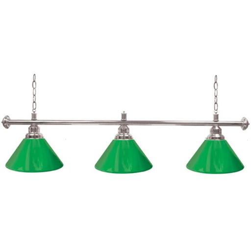 Trademark PB603S-GRN Custom 3 Shade Billiard Lamp, Green & Silver