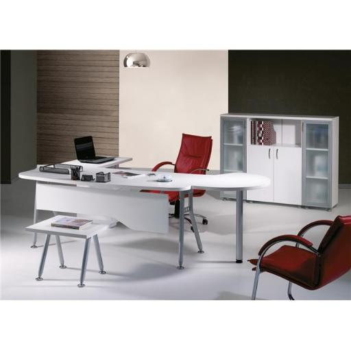 63 in. Modern Clover L Shaped Desk Office Suite Furniture Set - White & Metalic Grey, 6 Piece