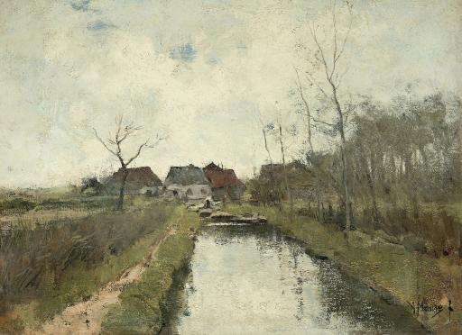 Cottages Near A Ditch, By Anton Mauve, 1870-88, Dutch Painting, Oil On Canvas. Polder Landscape In The Low-Lying Land Reclaimed From The Sea In.