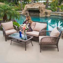 BELLEZE 4PC Outdoor Patio Furniture Set UV Wicker Deep Seating Cushion Seat Backrest Chair Sofa w/ Coffee Table, Brown