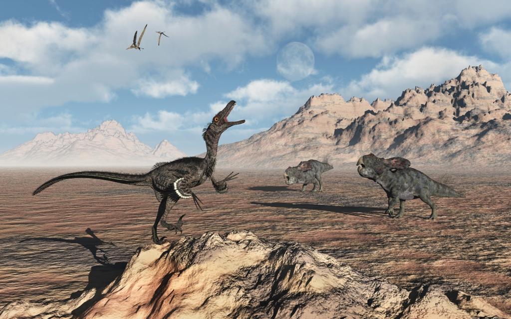 A predatory Velociraptor stalking a pair of Protoceratops. Poster Print by Mark Stevenson/Stocktrek Images