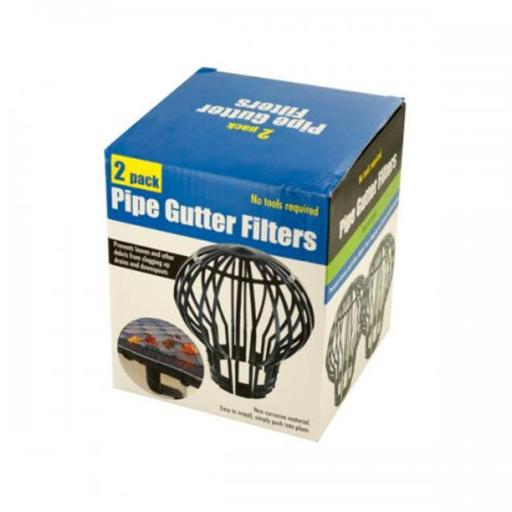 Pipe Gutter Filters Set, Black