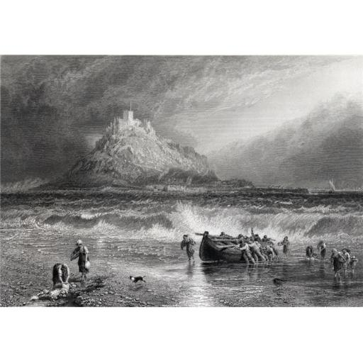 Posterazzi DPI1859909LARGE St. Michaels Mount Cornwall. Drawn by Birket Foster Engraved by J Saddler From Picturesque Europe C.1876 Poster Print, Large