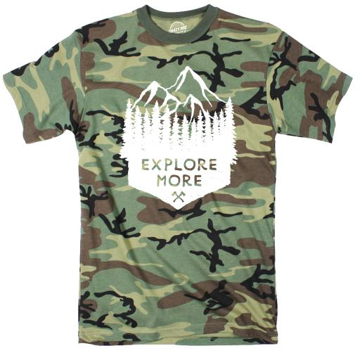 Youth Explore More Camo Tshirt Cool Outdoors Camping Tee