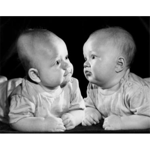 Posterazzi SAL2559574B Two Babies Leaning on Elbows & Looking at Each Ether Poster Print - 18 x 24 in.