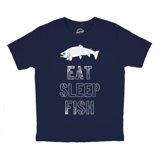 Youth Eat Sleep Fish T Shirt Funny Fishing Tee for Kids