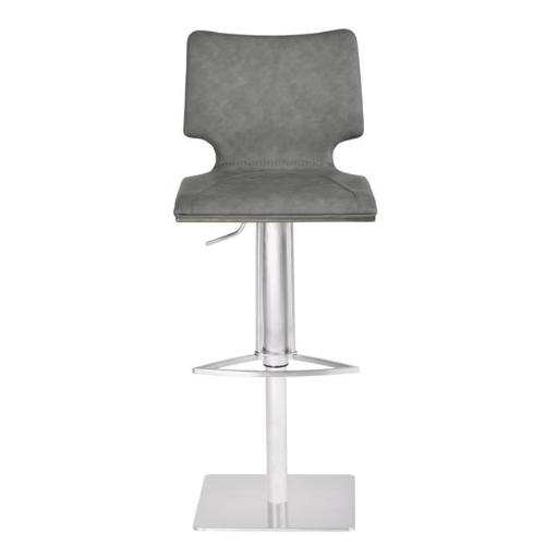 Armen Living LCSYBAVGBSGR 32.5 x 60 x 18 in. Sydney Adjustable Barstool, Brushed Stainless Steel with Vintage Grey Faux Leather & Grey Walnut Wood Bac