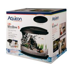 Aqueon 100528851 black aqueon minibow led aquarium kit 5 gallon black 14.5 x 10 x 13.5