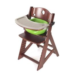 Keekaroo 0051413KR-0001 Height Right HIGH Chair Mahogany with Lime Infant Insert and Tray