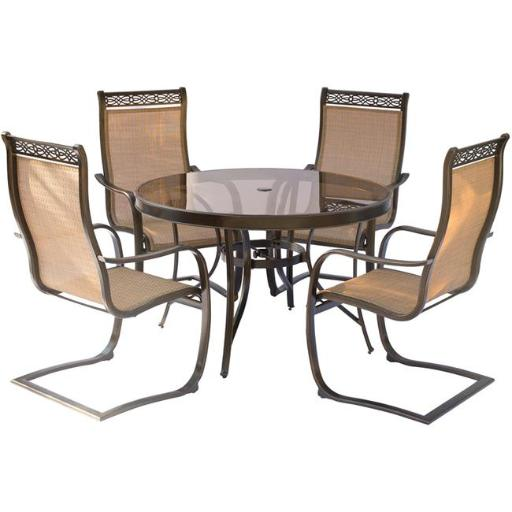 Hanover MONDN5PCSPG Monaco Dining Set with Spring Sling Chairs & Glass Table - 5 Piece