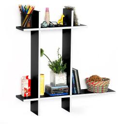 Trista - Dark Night-B Leather Cross Type Shelf / Floating Shelve (4 pcs)
