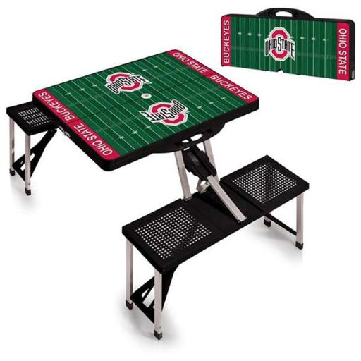 Picnic Time 811-00-175-445-0 Ohio State Buckeyes Digital Print Portable Folding Picnic Table with Four Seats, Black