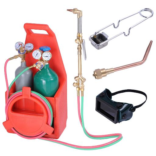 Yescom Portable Professional Welding Brazing Cutting Outfit Torch Tool Kit w/ Refillable Acetylene Oxygen Tanks