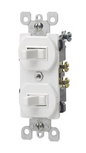 Leviton S02-05224-2ws Combination Two- Single Pole Switches 15amp - White