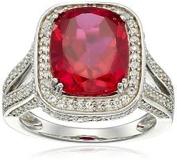 Sterling Silver Cushion Shape Created Ruby with Round Created White Sapphire Cocktail Ring, Size 7