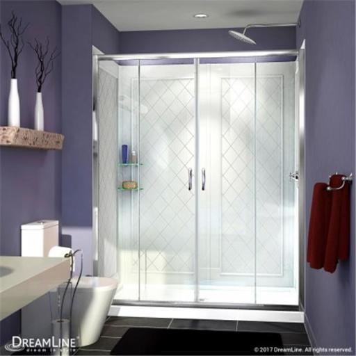 DreamLine DL-6114C-04CL 34 x 60 in. Visions Frameless Sliding Shower Door, Single Threshold Shower Base Center Drain & QWALL-5 Shower Backwall Kit - B