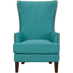 CMF 981703-TEAL Calista High Back Accent Chair with Nail Trim Teal - 31 x 33 x 48 in.