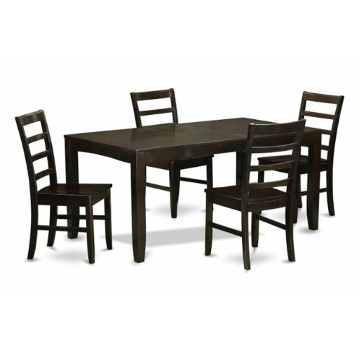 East West Furniture LYPF5-CAP-W 5 Piece Dining Room Set For 4-Table With Leaf and 4 Chairs For Dining Room