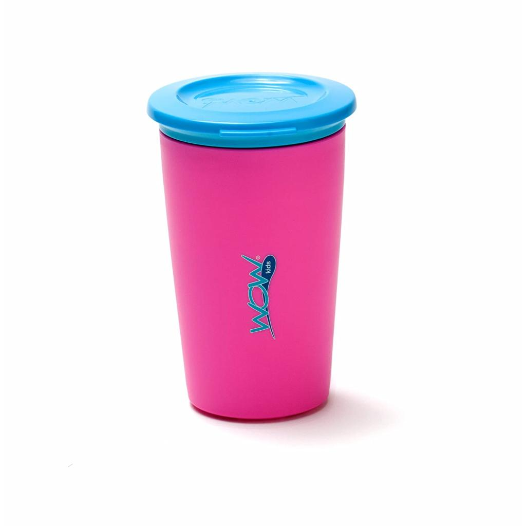 Wow Cup for Kids Original 360 Sippy Cup, Pink with Blue Lid, 9 oz TWO PACK