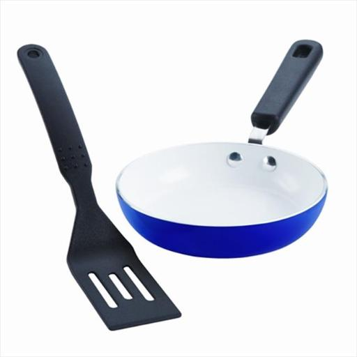 SilverStone 17553 Ceramic Nonstick Cookware CXmini Skillet and Turner Set, Ocean Blue