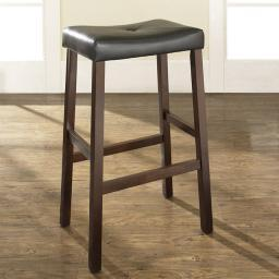 Crosley Upholstered Saddle Seat Bar Stool in Vintage Mahogany Finish with 29 Inch Seat Height. (Set of Two)