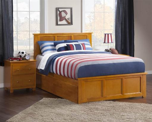 Madison Full Bed with Matching Foot Board with 2 Urban Bed Drawers in Caramel Latte