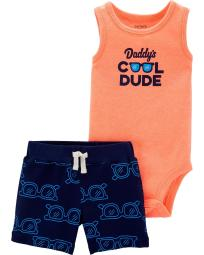 Carter's Baby Boys' 2 Piece Matching Short Set- Daddy's Cool Dude, 6 Months