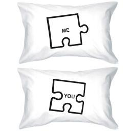 "Funny Graphic Pillowcases Standard Size 20 x 31 - Puzzle Design ""Me"" and ""You"