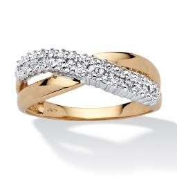 Diamond Accent Crossover Ring in 10k Yellow Gold