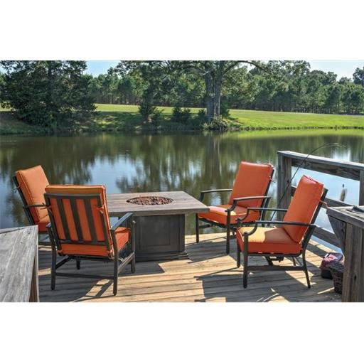 NorthLight Tres Motion Cast Aluminum Patio Chair & Gas Fire Pit Outdoor Furniture Set, Terracotta Cushions - 5 Piece