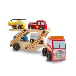 Melissa & Doug 173272 Wooden Emergency Vehicle Carrier Toy, 5 Pieces