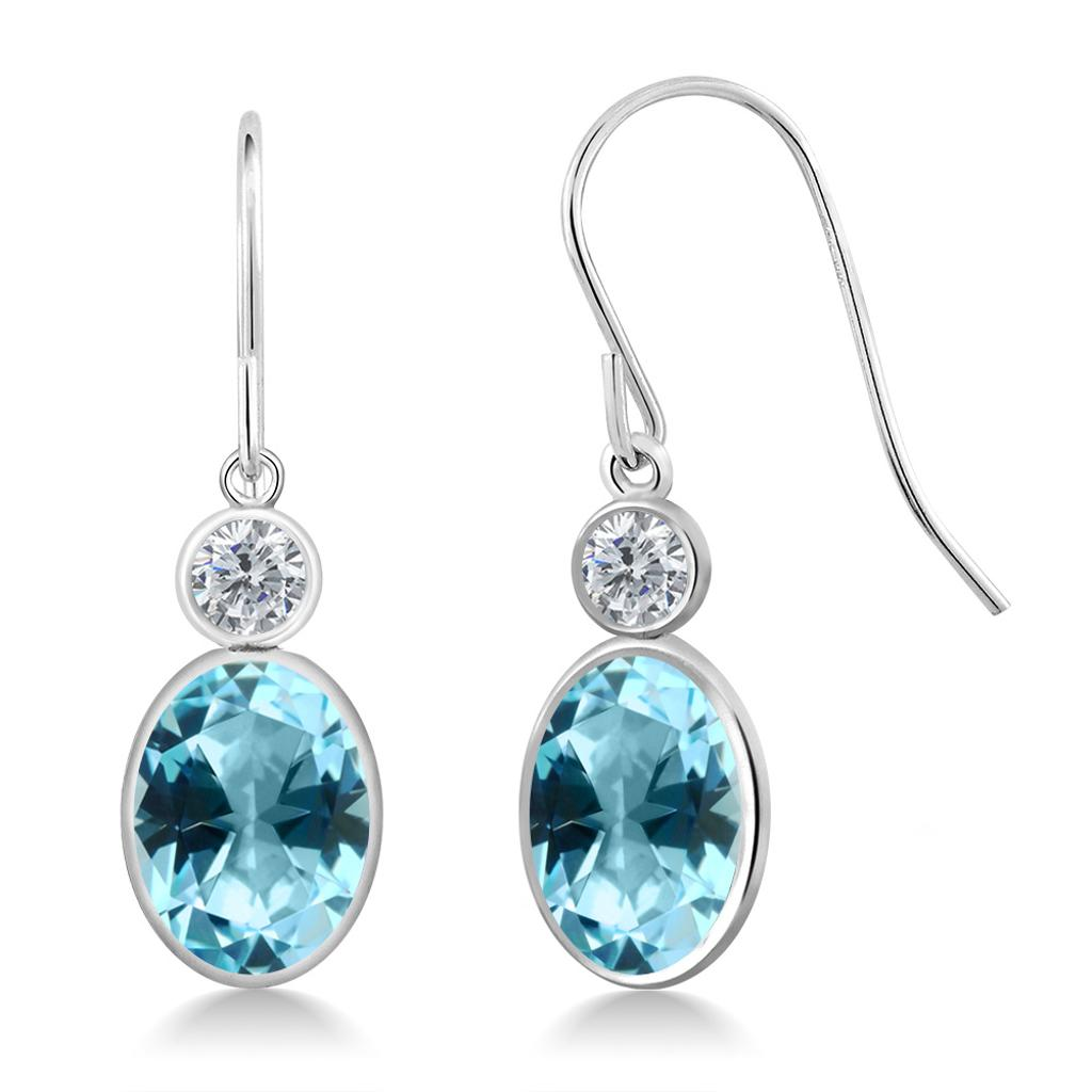 14K White Gold Diamond Earrings Set with Oval Ice Blue Topaz from Swarovski