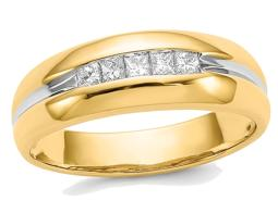Mens 14K Yellow Gold Princess Cut Diamond Ring 1/4 Carat (ctw Color H-I, I2-I3)
