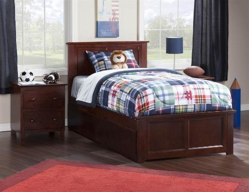 Madison Twin Bed with Matching Foot Board with 2 Urban Bed Drawers in Walnut