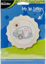 "My 1St Stitch Camper Mini Stamped Embroidery Kit-4"" Round 49046E"
