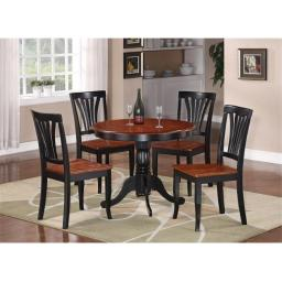 East West Furniture ANAV3-BLK-W 3 -Piece Round Kitchen 36 in. Table and 2 Chairs with Wood seat in Black & Cherry Finish