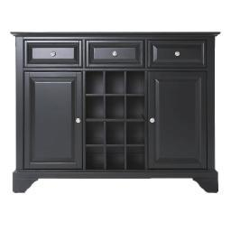 Crosley LaFayette Buffet Server / Sideboard Cabinet with Wine Storage in Black Finish