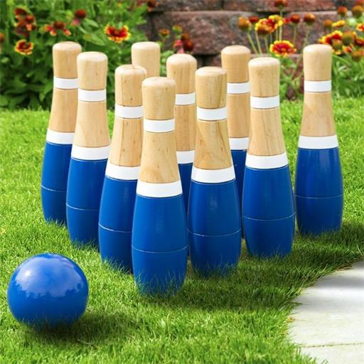 Hey Play M420001 8 in. Wooden Lawn Bowling Set