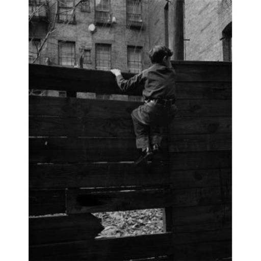 Posterazzi SAL255424762 Rear View of Boy Climbing Over Fence Poster Print - 18 x 24 in.