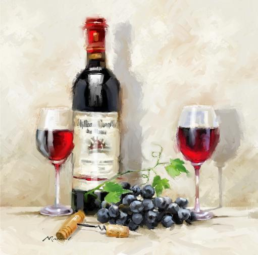Red Wine Poster Print by The Macneil Studio (12 x 12)