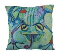 Allen Designs Curly the Funny Frog Decorative Throw Pillow 17 Inch