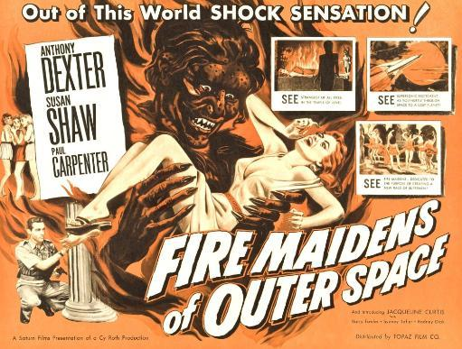 Fire Maidens Of Outer Space Lower Left: Anthony Dexter On Poster Art 1956 Movie Poster Masterprint D2OEOX7RRH6CZAJS